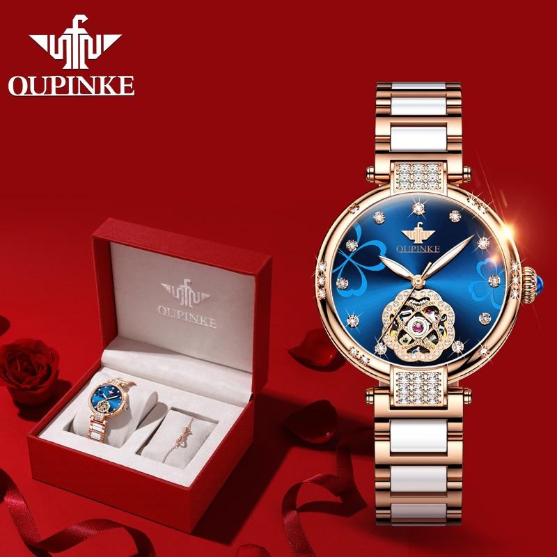2020 New OUPINKE Top Brand Ladies Fashion Watch Lucky Goddess Automatic Flash Diamond Watch Stainless Steel Ceramic Strap Watch 1