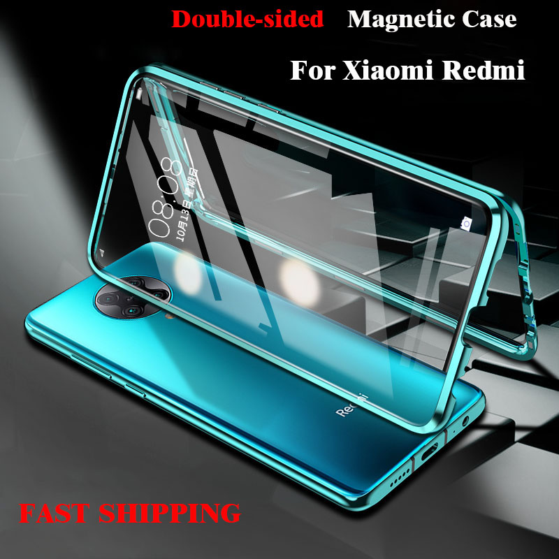 360 Magnetic Metal Adsorption Case For Xiaomi Redmi 10X K30 K20 Note 9 8 7 9S Pro 8T For Xiaomi 10 CC9 Note 10 9T Pro 9 A3 Cover