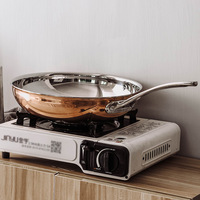 Flat bottom Copper Frying Pan European style Household Gold plated Open Flame Heating Without Oil Smoke Non stick Easy To Clean