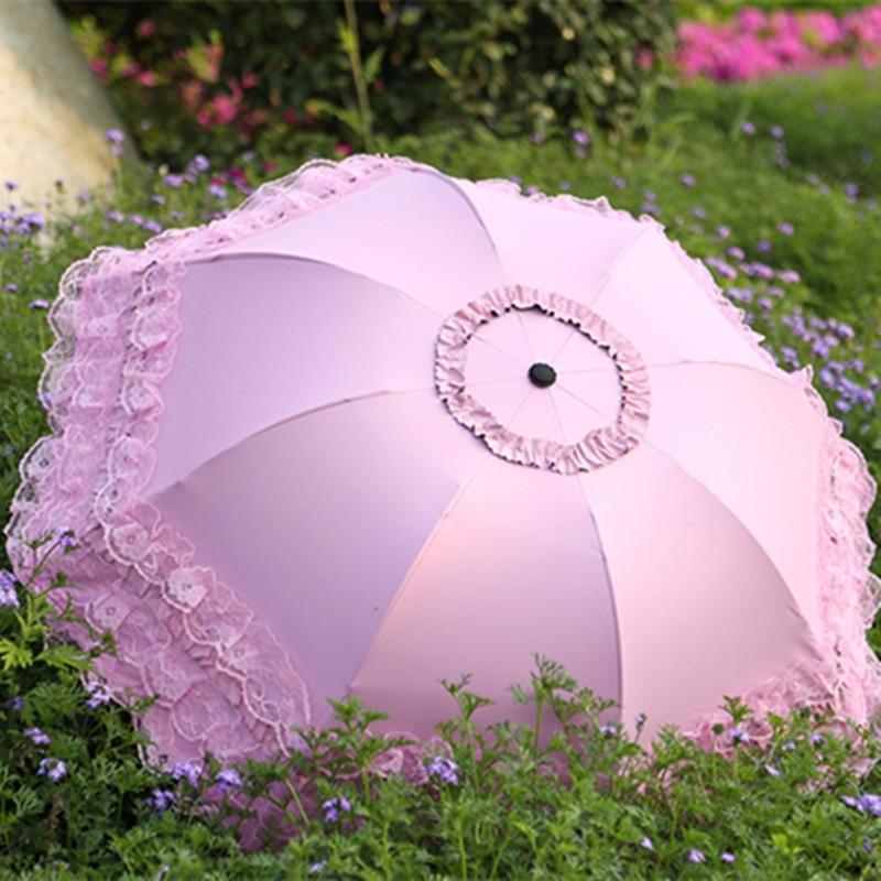 Зонт от солнца и дождя для красивое женское летнее черное покрытие УФ большой кружевной зонтик 3 складной зонт