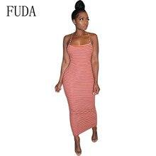 FUDA Sexy Backless Cross Straps Striped Bodycon Pencil Dress Elegant Sleeveless Hollow Out Vintage Women Summer Vestidos
