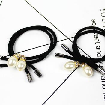Japan and South Korea small fresh hair tie double thread head hair pendant rope hair pearl headdress tie accessories rope Z0R2 image