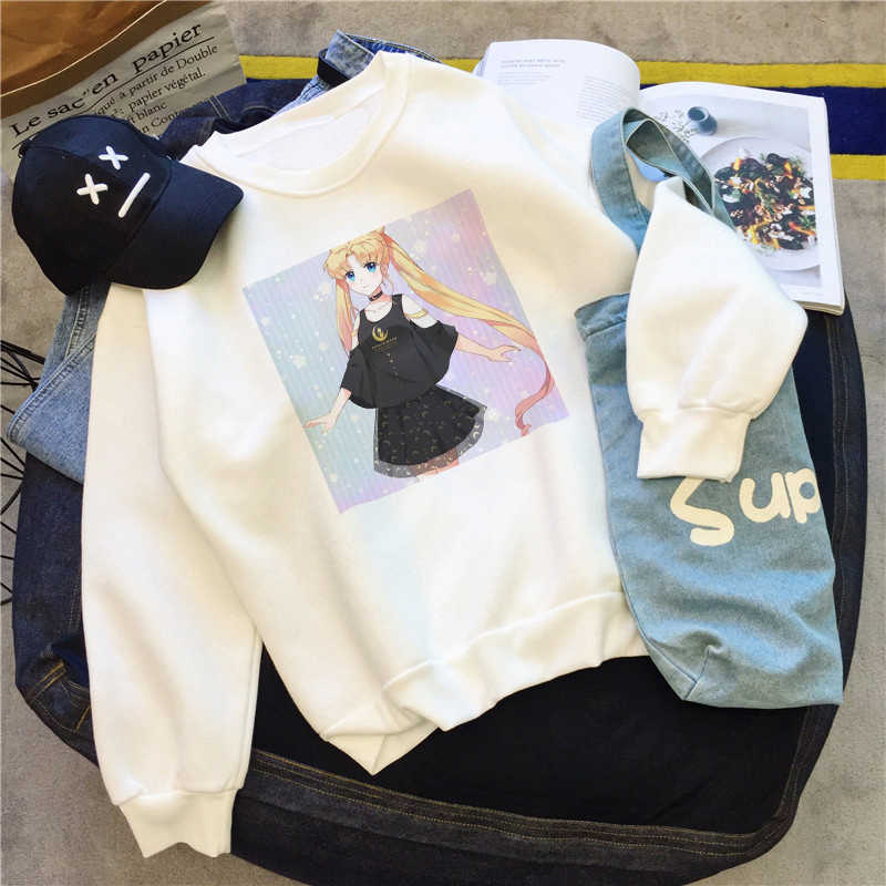Sailor Mond Tops Sweatshirt Harajuku Hoodies Frauen Hoodies Frauen Lose Pullover Casual Kawaii Kleidung Sudadera Mujer Толстовка