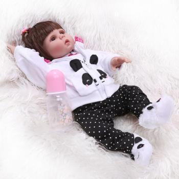 Npk Original 48Cm Baby Doll Reborn Toddler Doll Straight Hair Girl Panda Dress Full Body