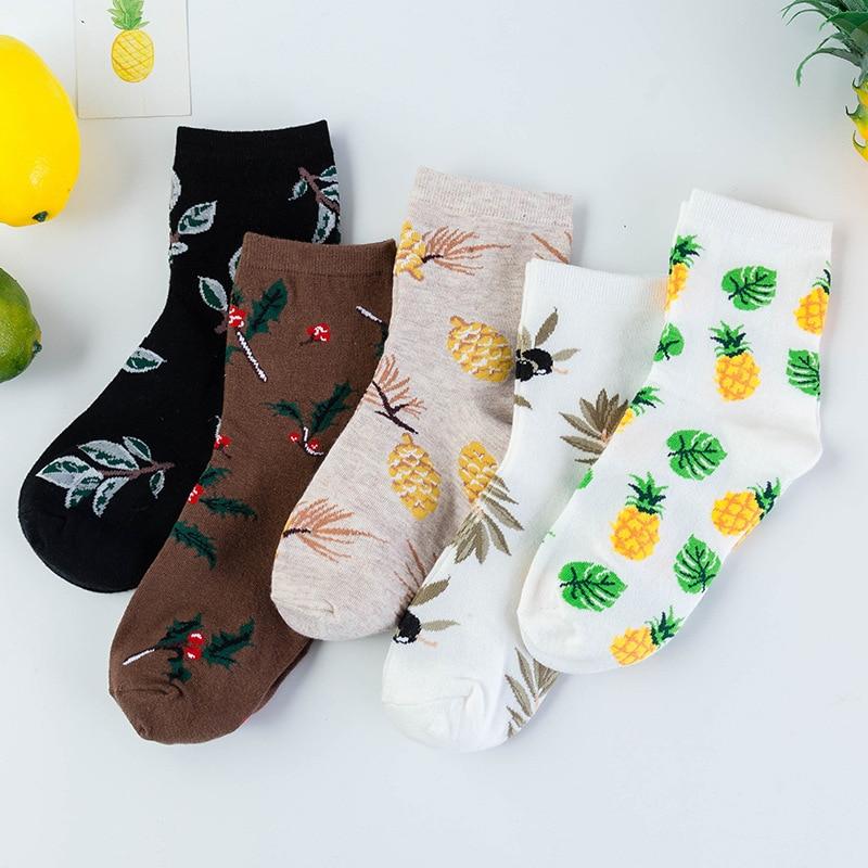 Korean Fashion Print Socks for Girls, Kawaii Cotton Mid-Tube Fruit Plant Paradise Sox Funny Spring Women's Short Socks Cheap