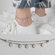 100% S925 Sterling Silver Tassel Geometric Round Coin double-deck Anklets Foot Chain Anklet bracelet Woman Beach Party Gift antique silver coin tassel anklet 1pc