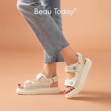 BeauToday sandały na platformie kobiety krata okrągły nosek pętli pętli tkanina w kratę letnie na co dzień panie buty outdoorowe Handmade 38161