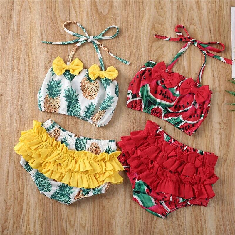 Newborn Kid Baby Girl Fruit Sling Tankini Swimwear Swimsuit Bikini Set Bathing Swimming Beachwear 6M-5Y