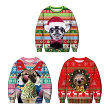 Christmas animal cartoon printing hooded long-sleeved o-neck sweatshirt fashion loose shirt autumn new women's top Large size(China)