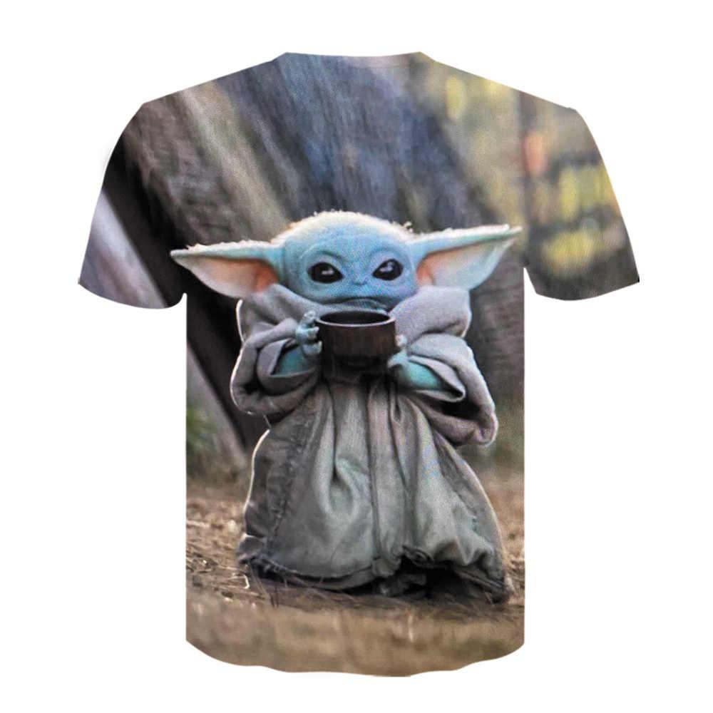 赤ちゃんヨーダをmandalorian tシャツ 3Dプリントおかしいtシャツ半袖スターウォーズ男性服 2020 ブラックtシャツドロップシップ
