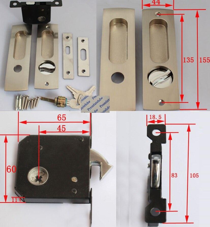 Zinc Alloy Wooden Sliding Pocket 38-48mm Door Lock Mortise Lockset Hook Bolt Recessed Flushed Thumbturn Bedroom Bathroom