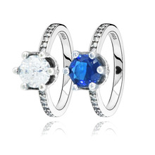 цена Genuine 925 Sterling Silver Rings Blue and Clear Sparkling Crown Rings Women Engagement Jewelry Anniversary gift онлайн в 2017 году