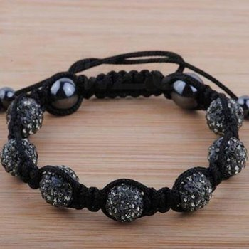 Black 10mm 7x Disco Ball Bead   Bracelet Wholesale CFG9895 Free Shipping   Bracelets Jewelry Fhrt45