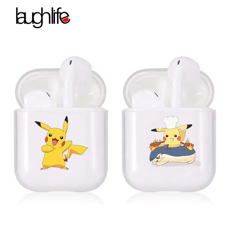 For Airpods 2 Case Cartoon Pikachue Transparent Wireless Bluetooth Headphone Protective Cover For Airpods 1/2 Earphone Accessory