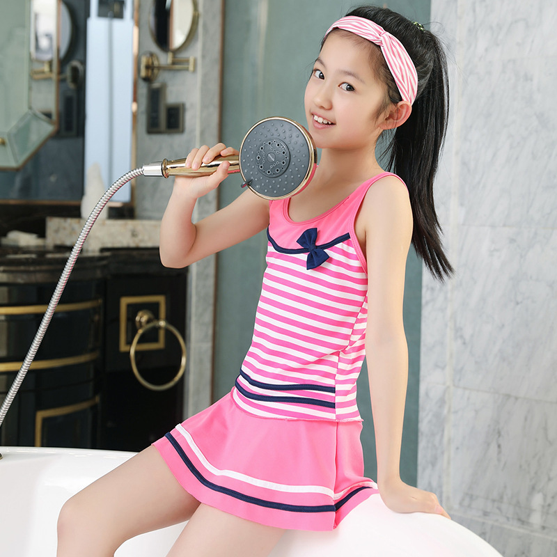 2019 New Style Two-piece Swimsuits Korean-style Stripes 6-9-Year-Old Navy Girls Swimwear 5553