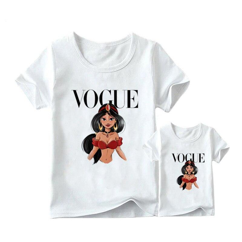 1 предмет, г. Летняя футболка с принтом принцессы в стиле панк модная одежда для мамы и дочки забавная семейная футболка с короткими рукавами - Цвет: 14