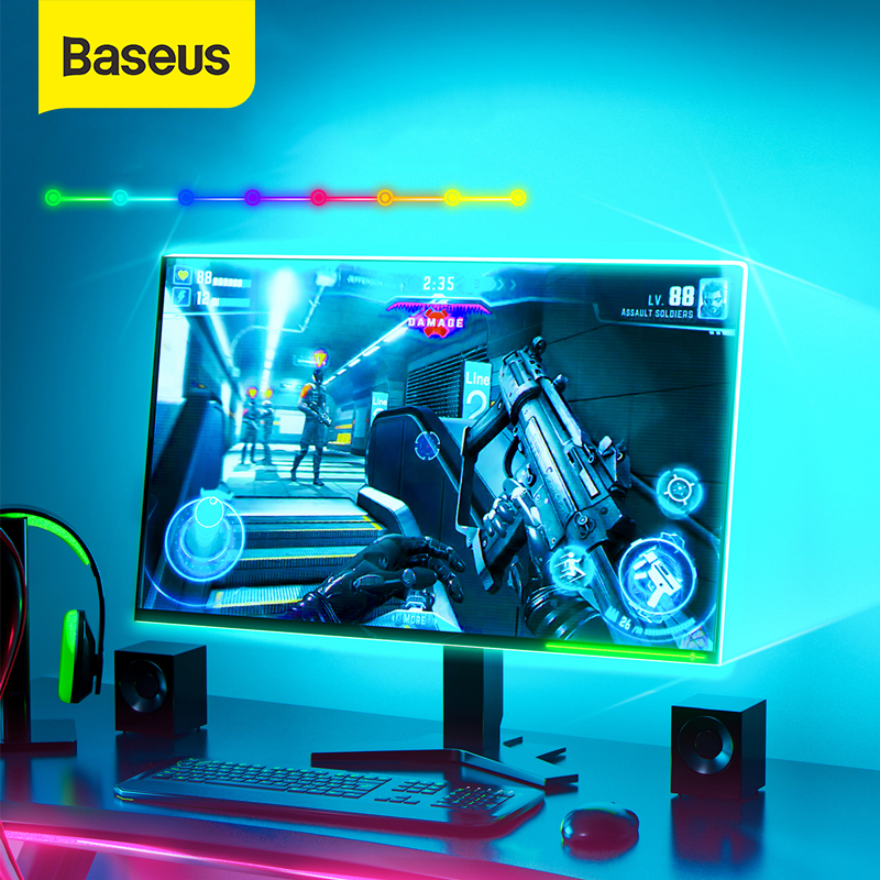 Baseus LED Strip Light RGB Flexible Ribbon Led Light Strip RGB 1.5M Extend 5W Smart Remote Control USB Adapter For Home Game