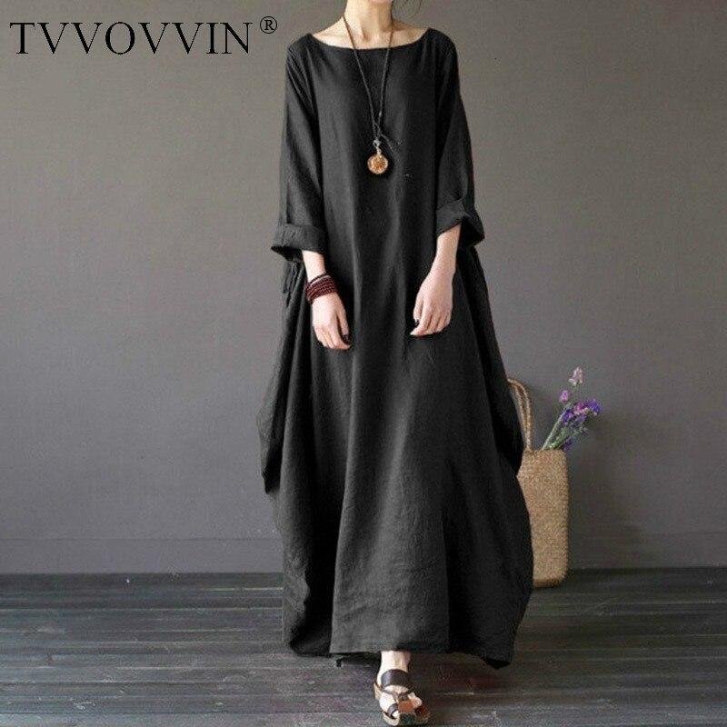 2019 sommer herbst Plus Größe Kleider Frauen 4xl 5xl Lose lange vintage Kleid Boho Hemd Kleid Maxi Robe mode Weibliche q293