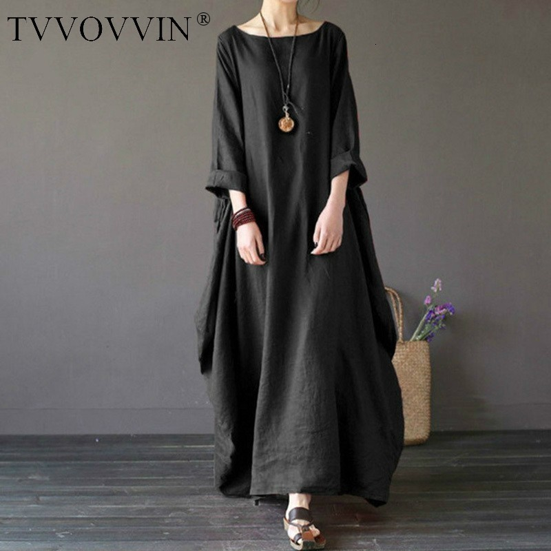 2020 sommer herbst Plus Größe Kleider Frauen 4xl 5xl Lose lange vintage Kleid Boho Hemd Kleid Maxi Robe mode Weibliche q293
