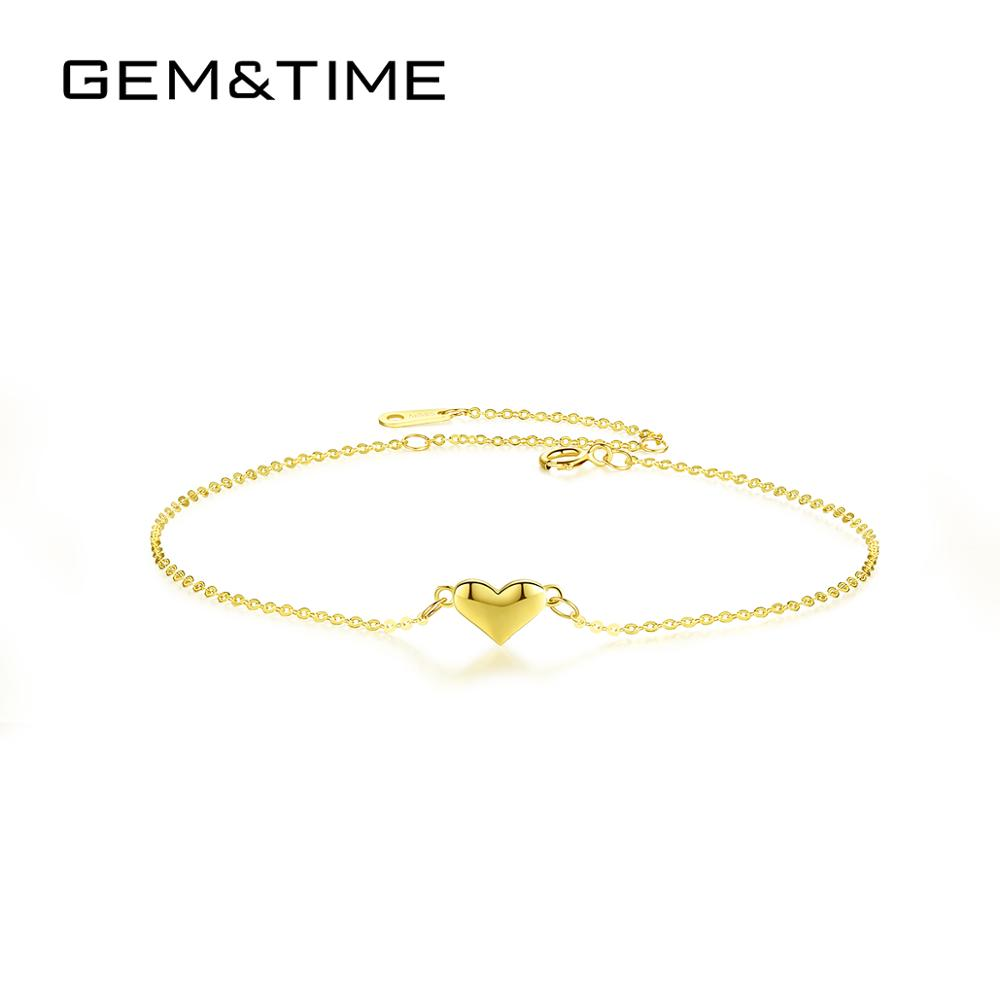 Gem&Time Authentic 14K Gold Cute Heart Charm Bracelets&Chain For Women Adjustable Bridal Bracelet Jewelry Bijoux Femme B14126
