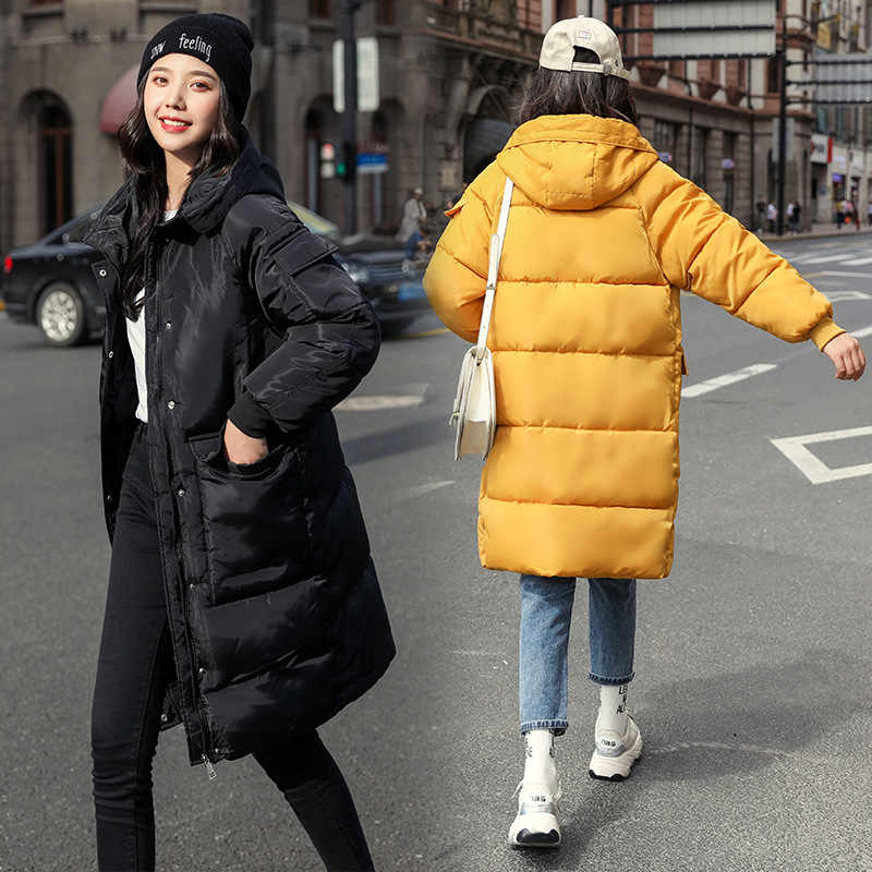Chic Lange Mit Kapuze Winter Unten Mantel Frauen Oversize Jacke Dicke Warme Baumwolle Gefütterte Wadded Parkas Große Tasche Windjacke Ärmeln