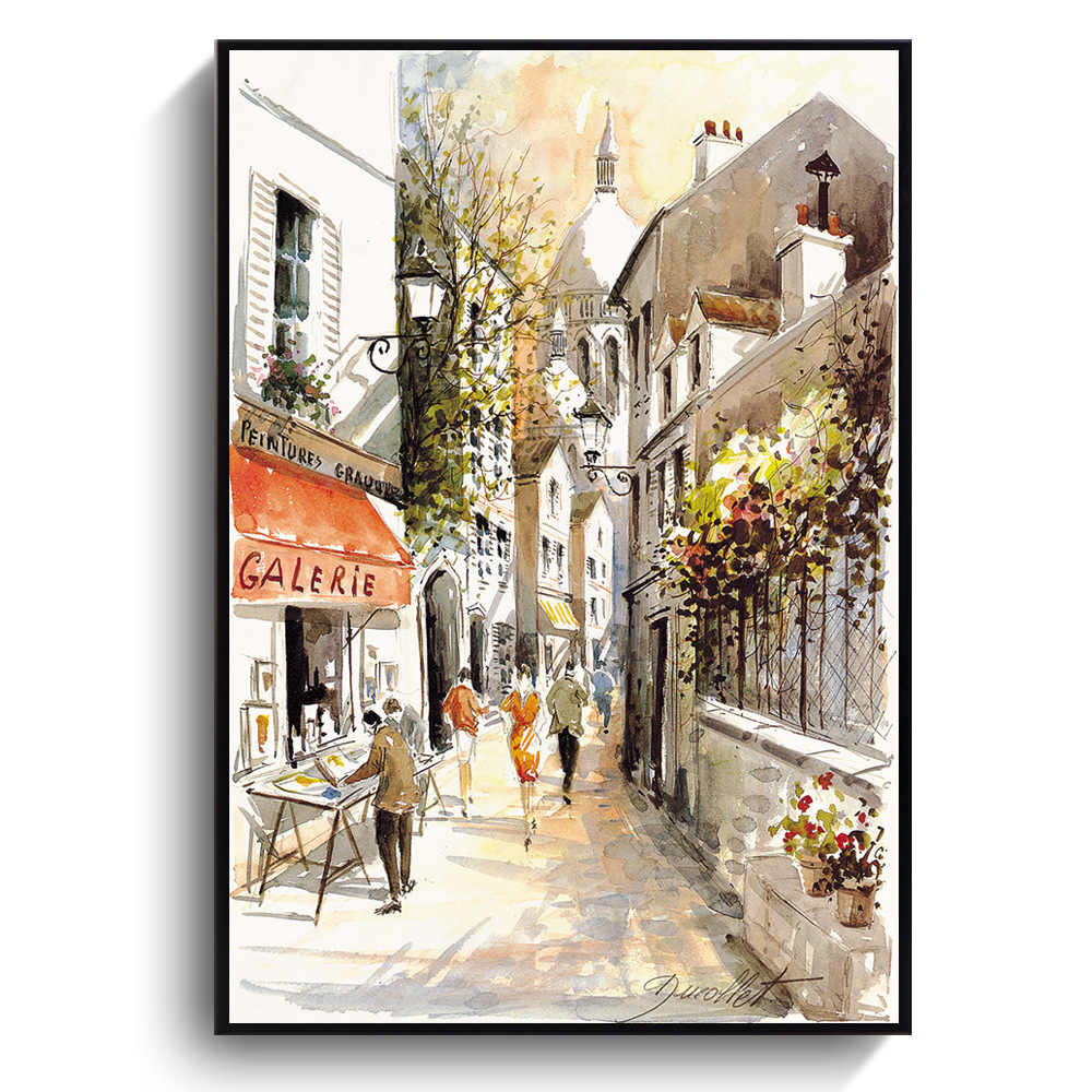 Modern Living Room European Small Town Landscpape Decoration Canvas Painting Watercolor Street View Hotel Home Decoration Art