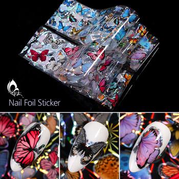 10 sztuk zestaw naklejki do paznokci kolorowe holography Butterfly Transfer naklejki folie do paznokci naklejki DIY zdobienie paznokci dekoracje tanie i dobre opinie CN (pochodzenie) as shown 51020 Naklejka naklejka Paper 10 Pc Nail Foils