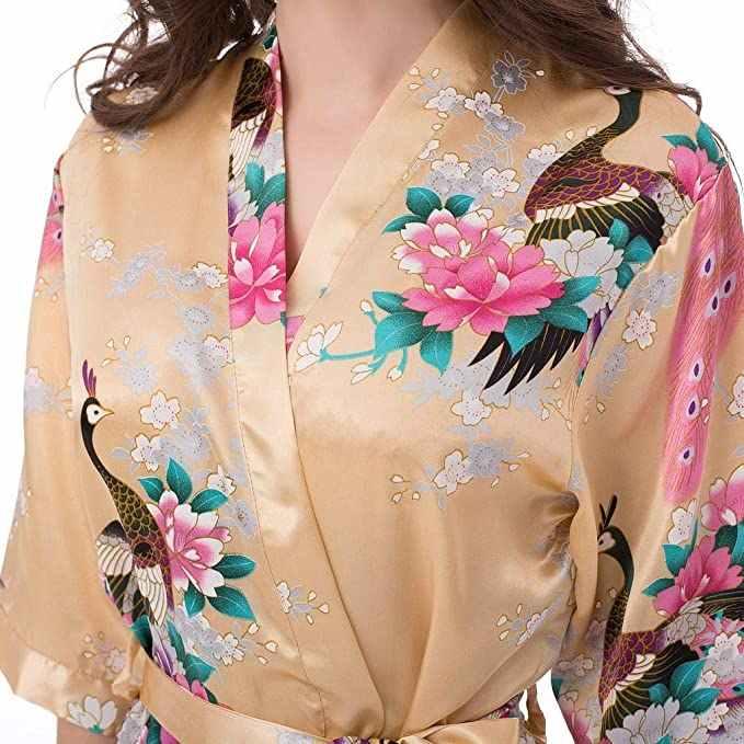 Sexy mariée demoiselle d'honneur Robe de chambre de mariage gris dame Kimono Robe de bain grande taille XXXL vêtements de nuit chemise de nuit florale cadeau de fête
