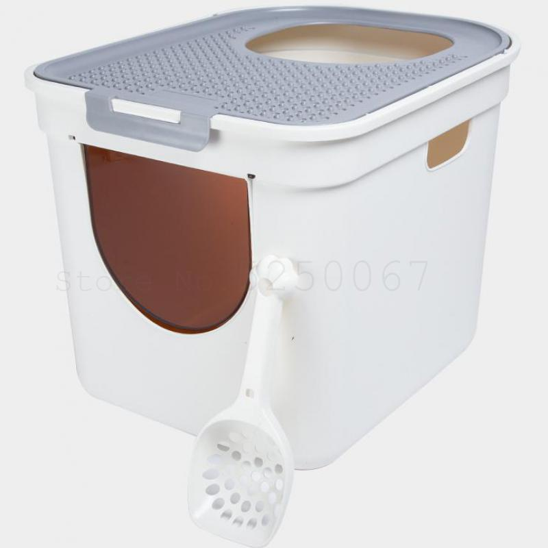 Anti-odor Semi-enclosed Large Size Top Type Cat Toilet Fully Enclosed oilet For Cat Sandbox Articles To Prevent Splashing B50(China)