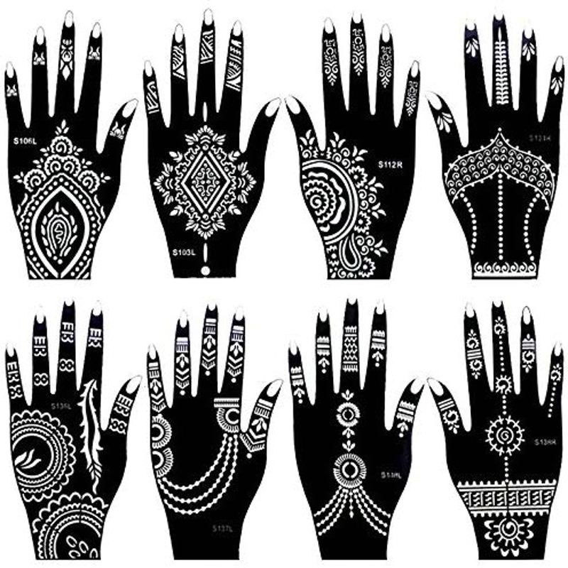 8 Sheets India Henna Tattoo Stencil Set For Women Girls Hand Finger Body Paint Temporary Tattoo Templates 20 X 10.5cm
