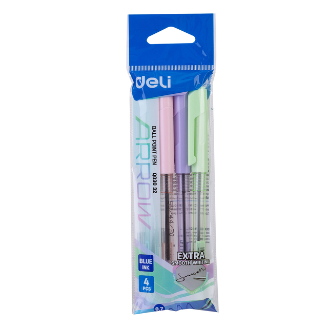 DELI Ball Point Pen 4 Pcs/Bag Color School Ballpoint Pen Mini tip 0.7mm EQ03032 2