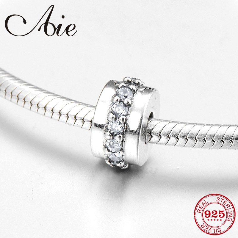 Fashion 925 Sterling Silver DIY Gift Decorate Clear CZ Fine Clips Lock Beads Fit Original Pandora Charm Bracelet Jewelry Making