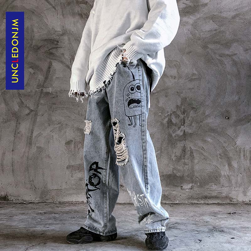 Graffiti Print Casual Baggy Damaged Denim Jeans Hip Hop Hipster Streetwear Pants Men Destroy Punk Rock Trousers Male AN-C026