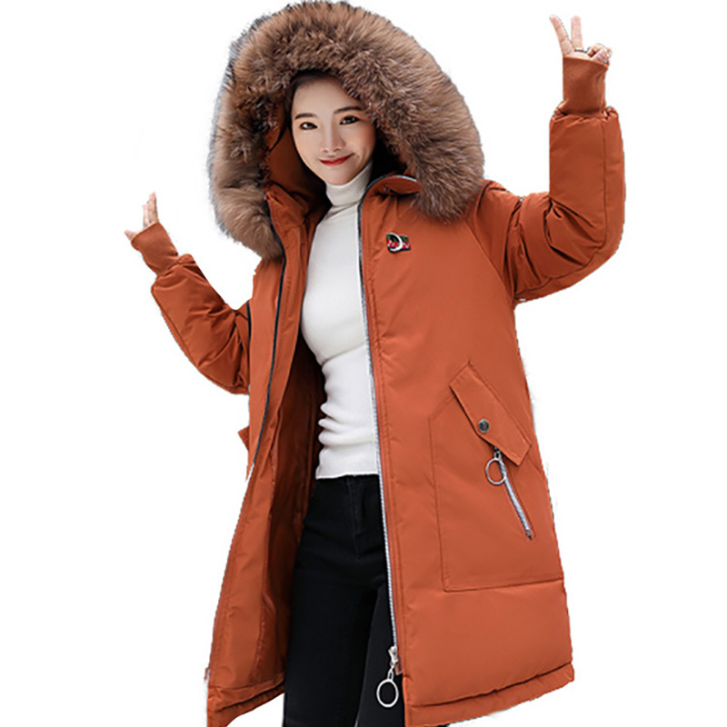 M-3XL Thickened Winter Coat Down Womens Large Fur Collar Cotton Korean Version of The Thin Warm Long Section