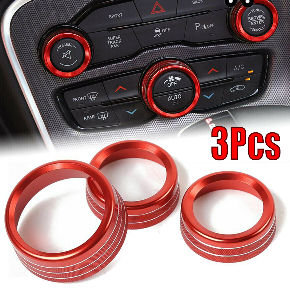 3x Aluminum AC Radio Control Ring Knob Trim Covers For Dodge Challenger 15-19