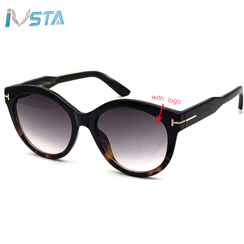 IVSTA TF0611 with Original Logo Luxury Brand Designer Cat Eye Sunglasses Women Ladies Pink Festival Round Glasses Vintage Retro