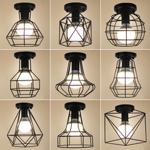 Luces De Techo Vintage Led De hierro negro lámpara De Techo Lamparas De Techo Lustre plafondlampara Led Luminaria Led jaula luz pasillo