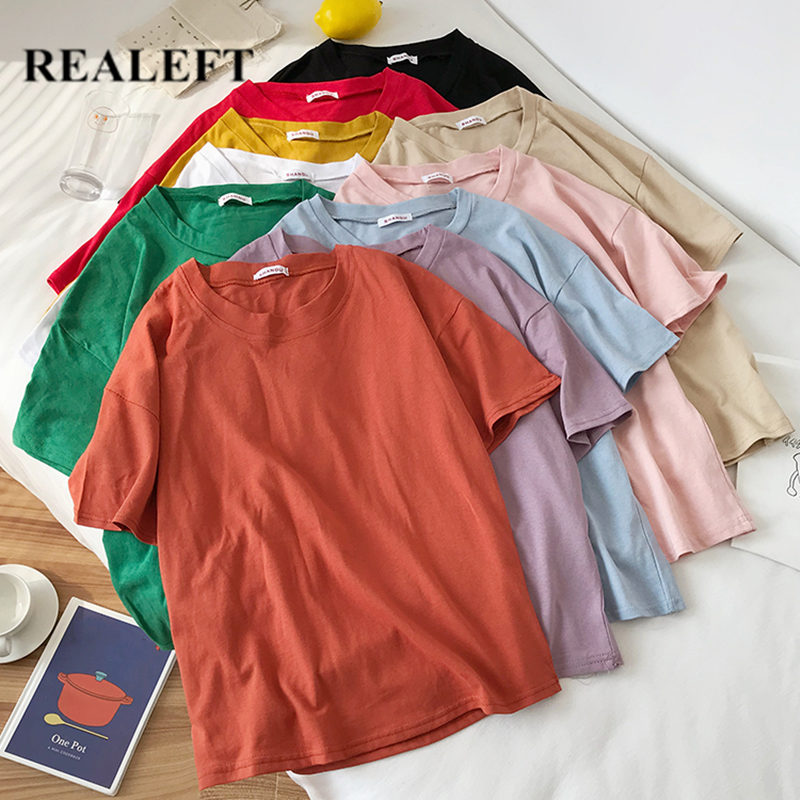 REALEFT 2020 New Summer Pure Color Short Sleeve Women's T-Shirts Cotton O-Neck Casual Loose Shirts Tops Tee For Girls Students