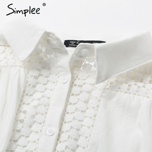 Image 5 - Simplee Elegant cotton lace women dress Long lantern sleeve ruffle A line white short dress Hollow out party winter dresses 2019