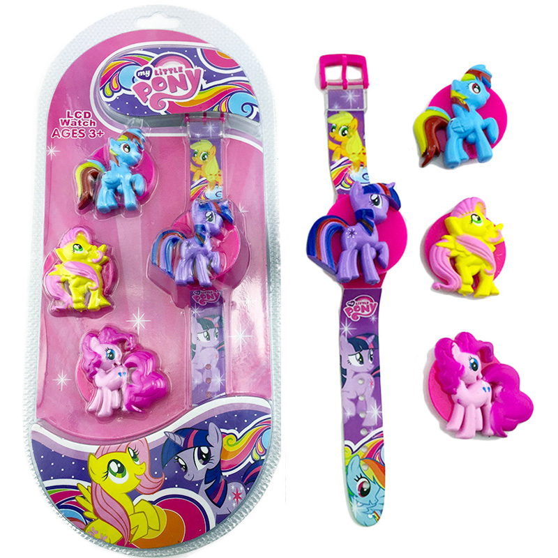 My Little Pony Original Watch Anime Figure Toy Cute Flip Cover LED Watch Action Figures Girl's Birthday Gift New Cartoon Watch