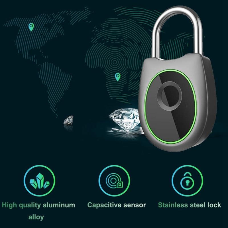 Smart Fingerprint Lock Electric Biometric Door Lock USB Rechargeable IP65 Waterproof Bluetooth Electronic Lock Car Lock Student