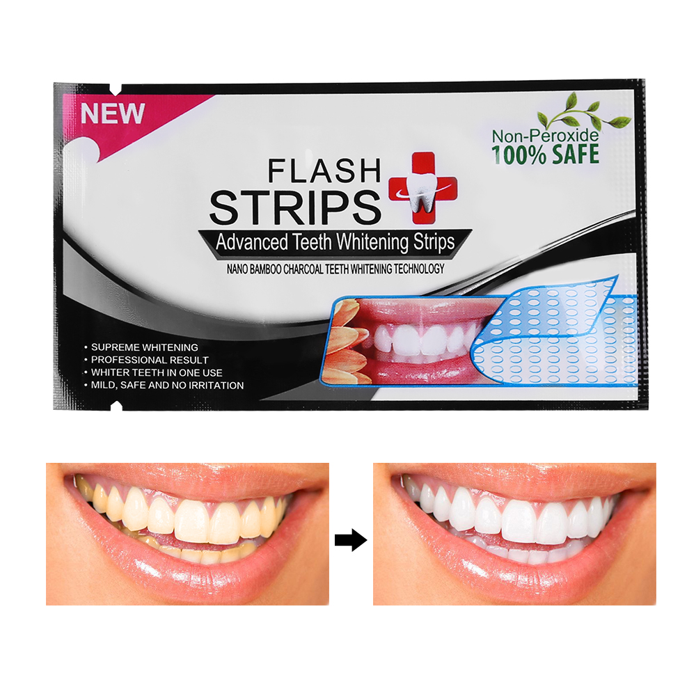 ANLAN 28Pcs/14Pairs 3D Teeth Bamboo Charcoal Whitening Stickers Mint Whitening Strips Professional Teeth Blanqueador Dental