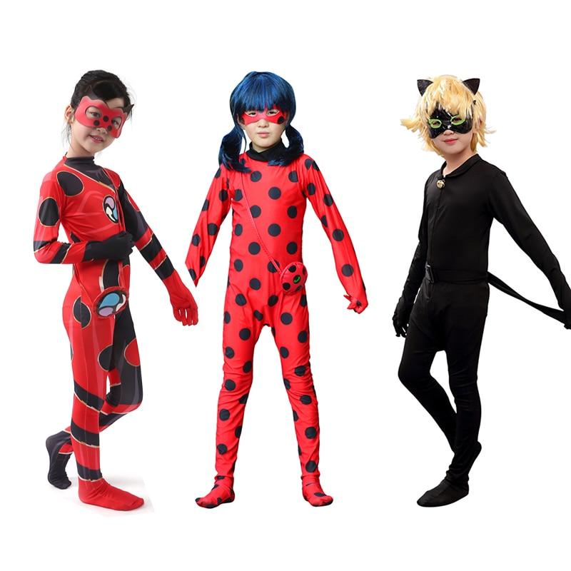 Halloween enfants dame Cosplay Bug masque Costume Noir chat Noir ensembles complets Costume dame fille Spandex Bug costumes