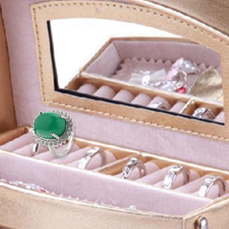 สีเขียว Chalcedony อัญมณีแหวนดอกไม้รูปไข่อาเกตสำหรับผู้หญิงหยก anillos de bizuteria