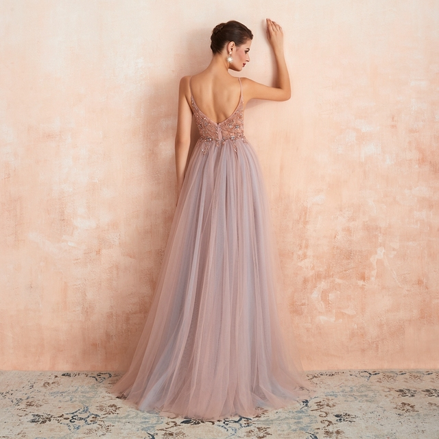 Pink Beaded Prom Dresses Plus Size 2021 Long Elegant See Through A Line Split Tulle V Neck Spaghetti Strap Evening Gown 2