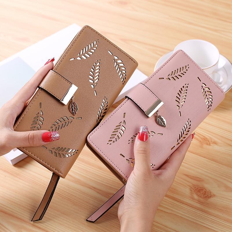 2020 nuove donne coreane portafoglio lungo moda pochette foglia cava cerniera fibbia portafogli porta carte belle borse piccola borsa