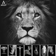 Animal Giraffe Zebra Lion Elephant Horse Prints & Poster Black and White Canvas Art Wall Decorative Picture for Living Room(China)