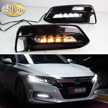 2PCS LED Daytime Running Light For Honda Accord 2018 2019 2020 Dynamic Turn Yellow Signal Waterproof Car DRL 12V LED Fog Lamp