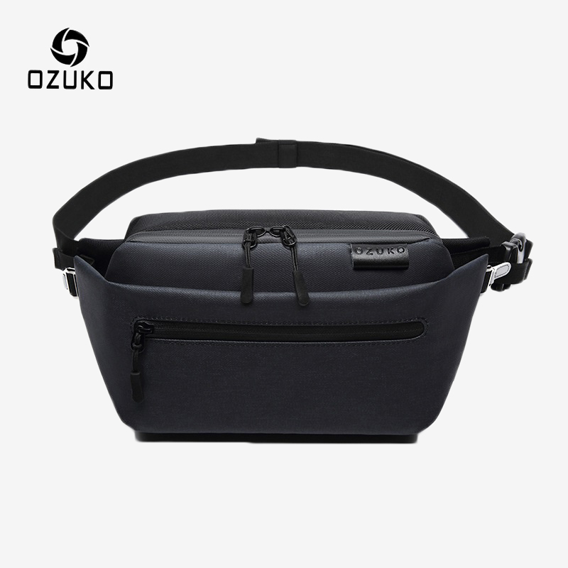 OZUKO Men's Sports Waist Bag Male Waterproof Belt Bag Casual Fanny Pack Money Phone Pouch Shoulder Crossbody Bag Chest Packs