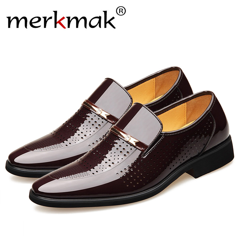 Merkmak Summer Autumn Pointed Toe Mens Dress Shoes 2019 Breathable Black Wedding Shoes Formal Suit Office Shoes Man Leather